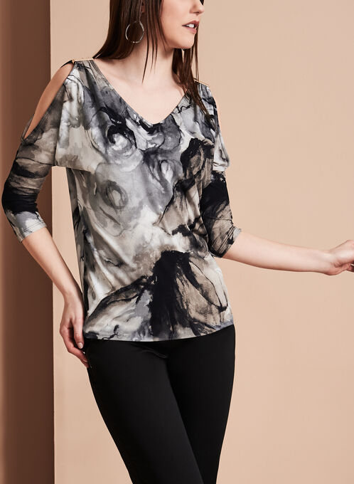 Cold Shoulder Marble Print Top, White, hi-res