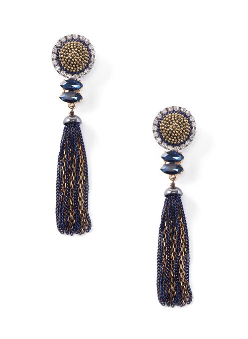 Round Studded Tassel Earrings, Yellow, hi-res