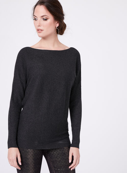 Dolman Sleeve Rib Knit Sweater, Grey, hi-res