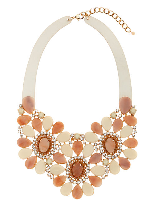 Beaded Floral Bib Necklace, Pink, hi-res