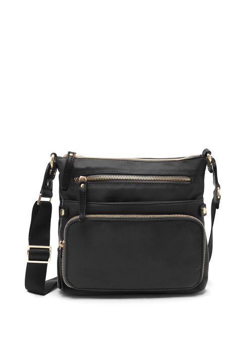 Nylon Crossbody Bag, Black, hi-res