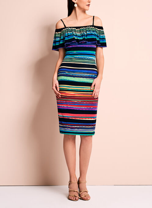 Off The Shoulder Stripe Print Dress, Multi, hi-res