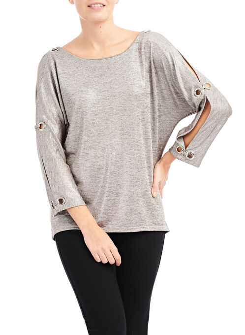 3/4 Sleeve Cold Shoulder Top, Gold, hi-res