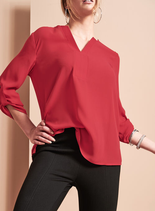 Blouse tunique à encolure en V, Rouge, hi-res