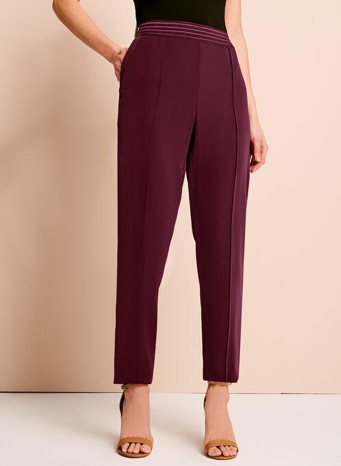 Pantalon jambe étroite à taille élastiquée, Rouge, hi-res