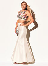 Two Piece Beaded Floral Gown, White, hi-res