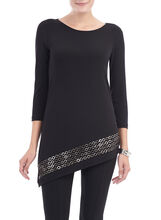 Eyelet Trim Asymmetrical Tunic Top, Black, hi-res