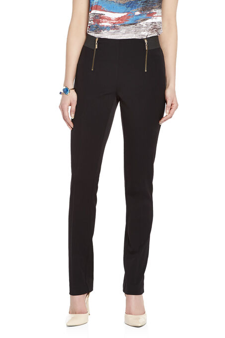 Zip Detail Elastic Waist Slim Leg Pants, Black, hi-res