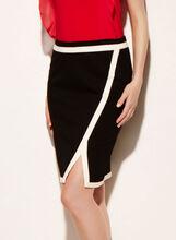 Asymmetric Crossover Pencil Skirt, Black, hi-res