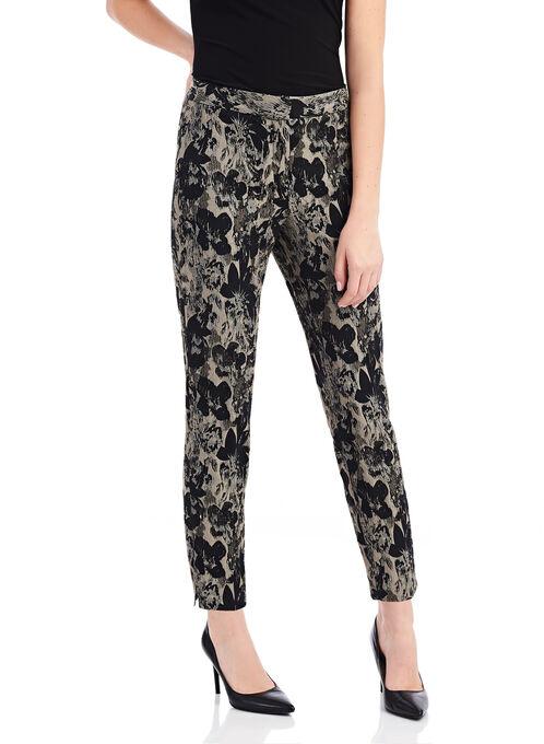 Floral Brocade Slim Leg Ankle Pants, Black, hi-res