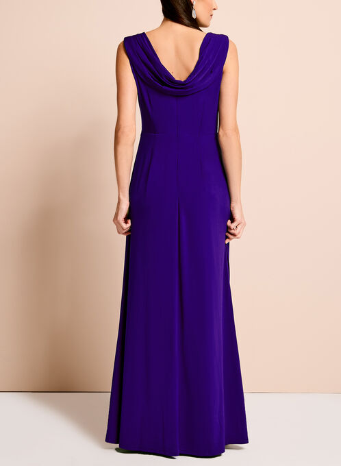 Embellished Waist Cowl Back Gown, Blue, hi-res