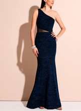 One Shoulder Glitter & Mesh Knit Gown, Blue, hi-res