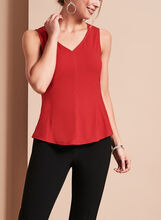 Sleeveless V-Neck Top, Red, hi-res