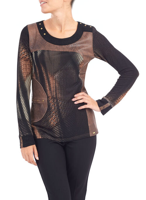 Vex Mixed Pleather Saddle Print Top, Brown, hi-res