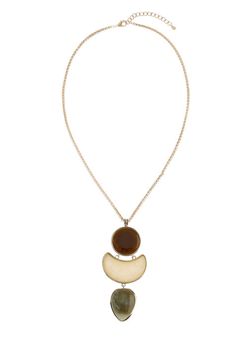 Tiered Stone Pendant Necklace, Brown, hi-res