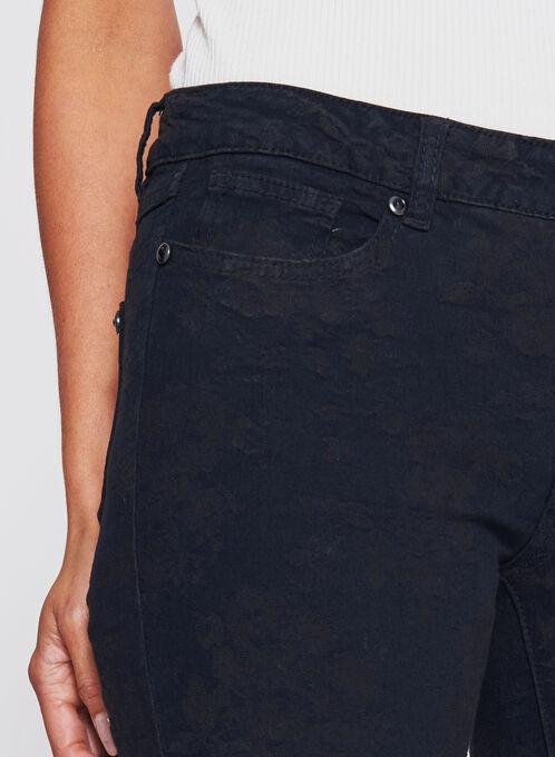 Floral Print Slim Leg Jeans, Black, hi-res