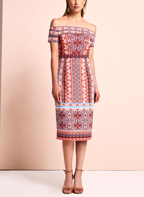 Maggy London - Printed Off The Shoulder Dress , Orange, hi-res