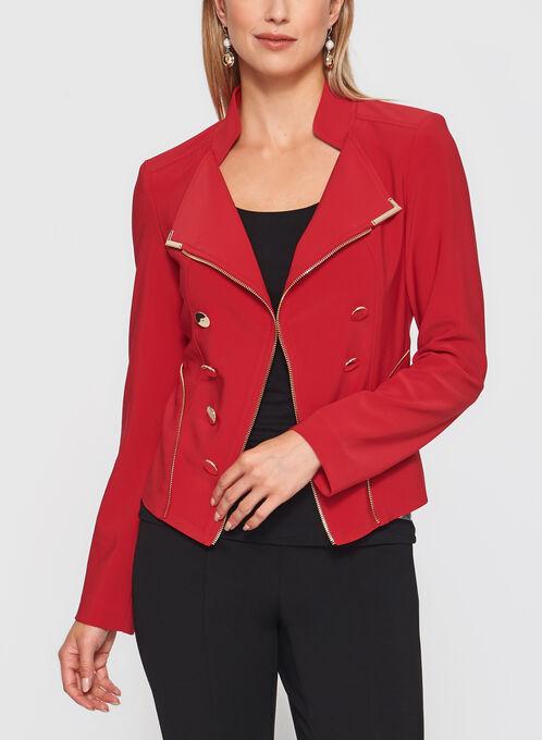 Frank Lyman - Gold Trim Cropped Jacket, Red, hi-res