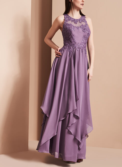 Beaded Hanky Hem Gown, Purple, hi-res
