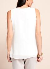 Sleeveless Asymmetric Cascade Blouse, Off White, hi-res
