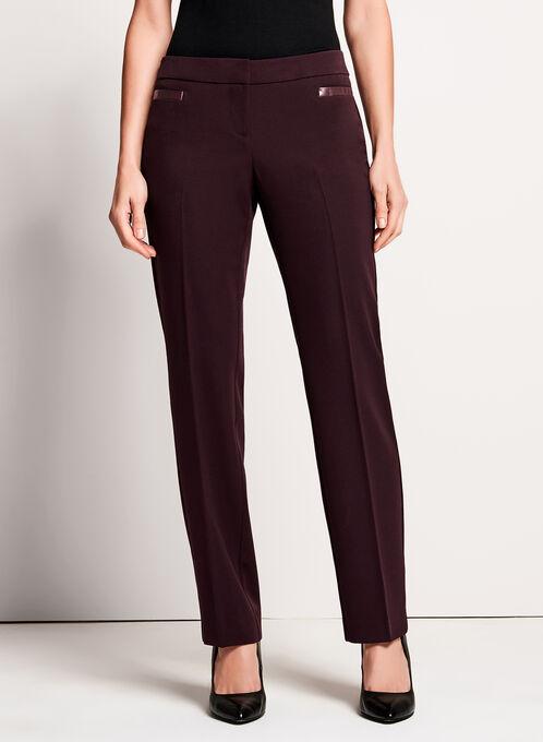 PETITES - Lauren Tailored Fit Straight Leg Pants , Red, hi-res