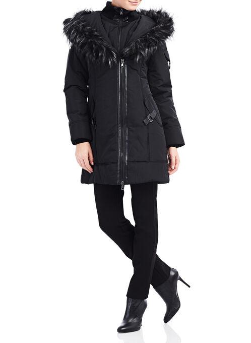 Northside Faux Down Coat , Black, hi-res