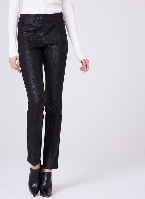 Pull-On Straight Leg Python Print Pants, Black, hi-res