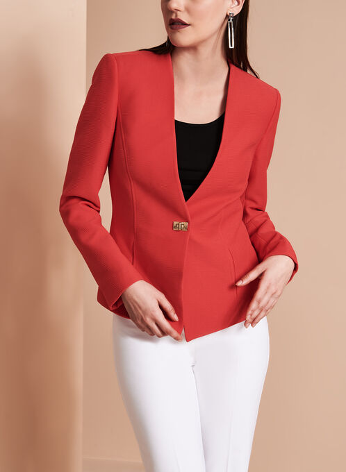 Tahari Crinkle Crepe Collarless Blazer, Red, hi-res
