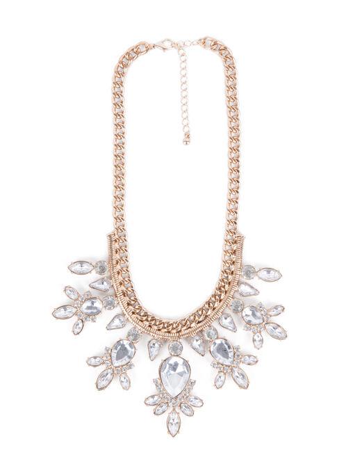 Jewel Teardrop Necklace, Gold, hi-res