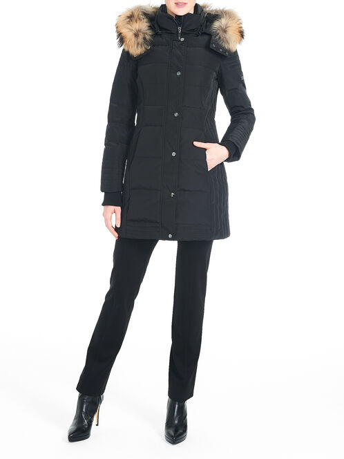 Fur Trim Down-Filled Puffer Coat, Black, hi-res