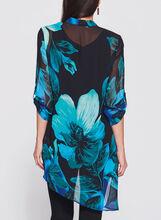 Frank Lyman - Asymmetric Floral Print Blouse, Blue, hi-res