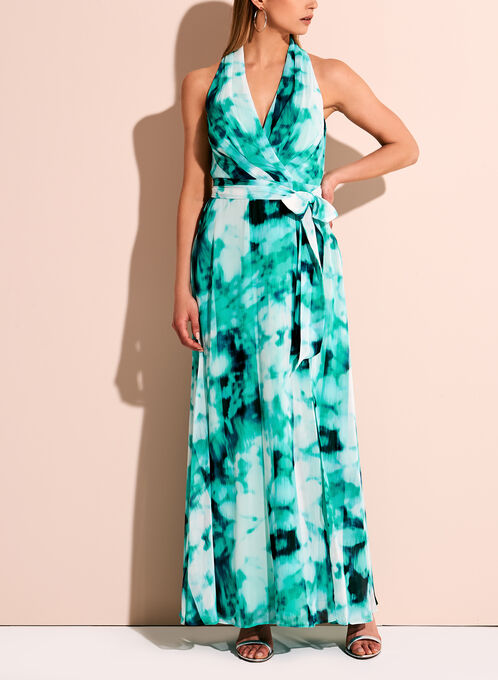 Chiffon Watercolour Maxi Dress, Blue, hi-res