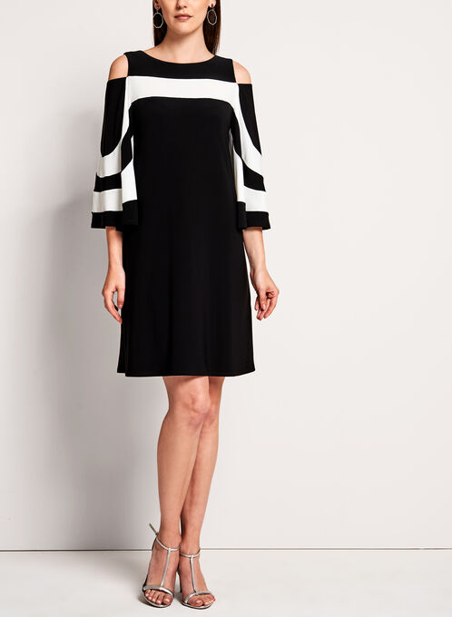 Frank Lyman - Jersey Cold Shoulder Dress, Black, hi-res
