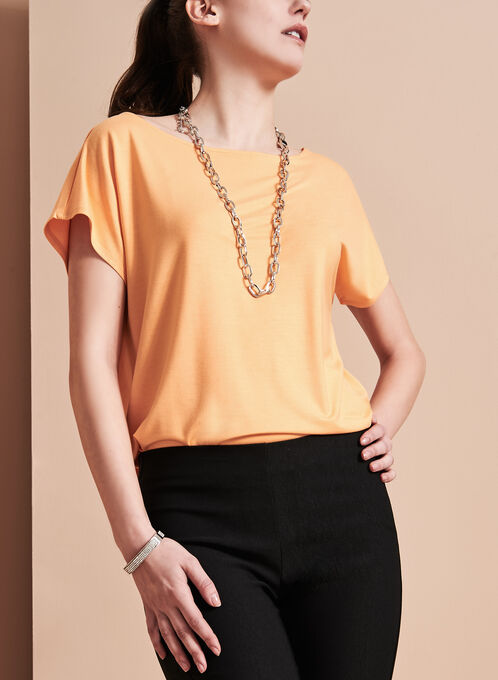 Short Sleeve Scoop Neck Top, Orange, hi-res