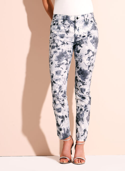 Floral Print Slim Leg Ankle Jeans, Grey, hi-res