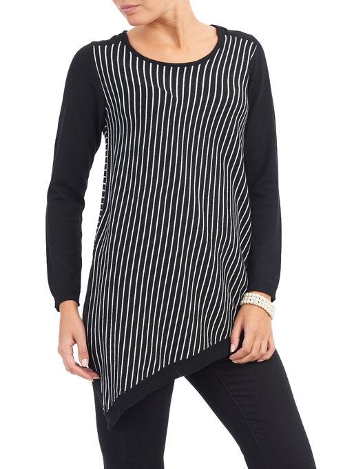 Stripe Print Asymmetrical Sweater , Black, hi-res