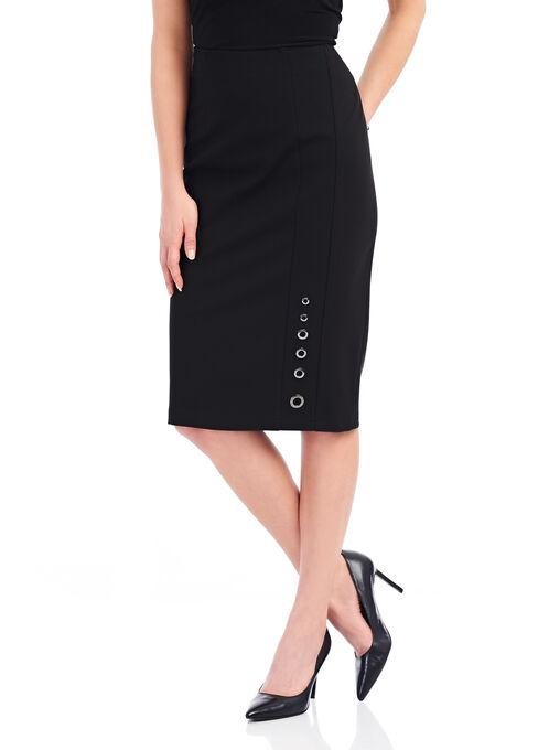 Vex Grommet Detail Pencil Skirt, Black, hi-res