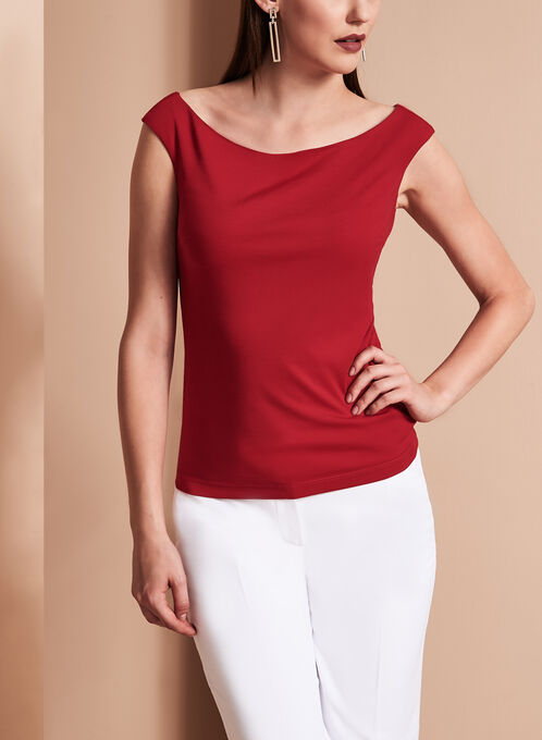 Boat Neck Zipper Back Top, Red, hi-res