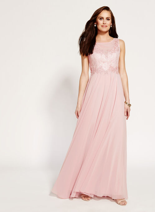 Beaded Lace Chiffon Gown, Pink, hi-res