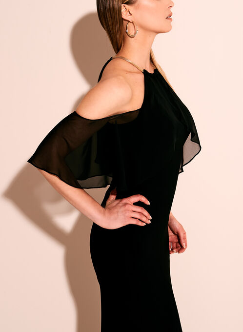 Cold Shoulder Choker Top Gown, Black, hi-res