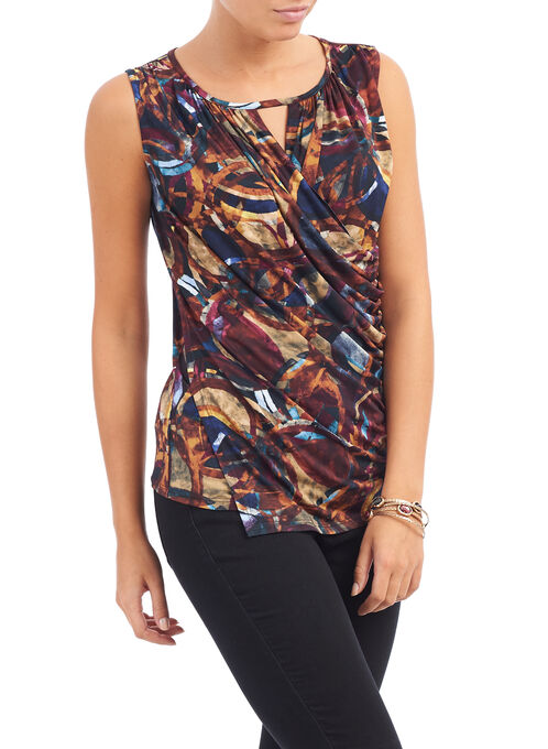 Sleeveless Faux Wrap Top, Brown, hi-res