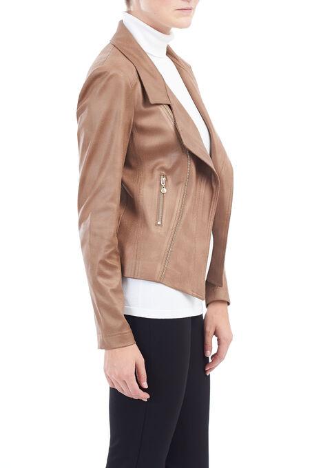 Vex Wing Collar Pleather Jacket, Brown, hi-res