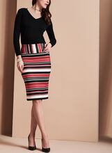 Stripe Print Pencil Skirt, Red, hi-res