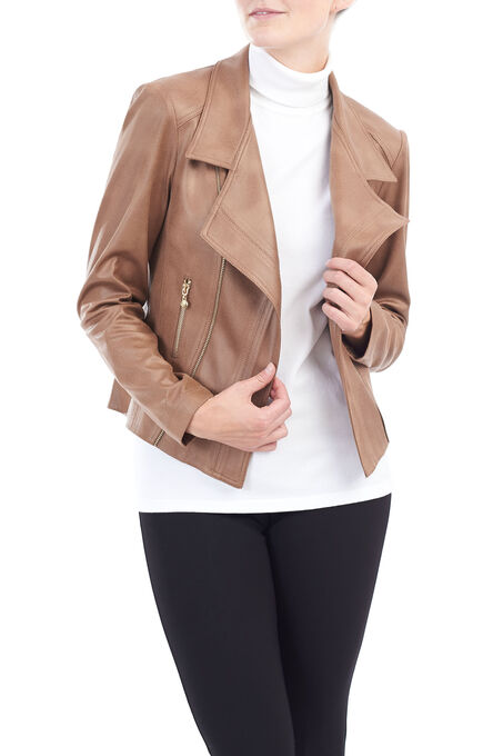 Vex Wing Collar Pleather Jacket, Brown, hi-res