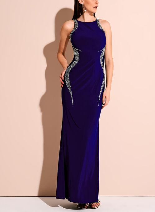 Robe de soirée avec ornements scintillants, Bleu, hi-res