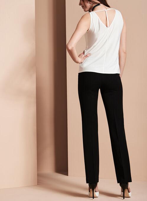 Bi-Stretch Straight Leg Pants, Black, hi-res