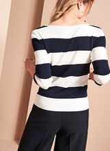 3/4 Sleeve Stripe Print Sweater, White, hi-res