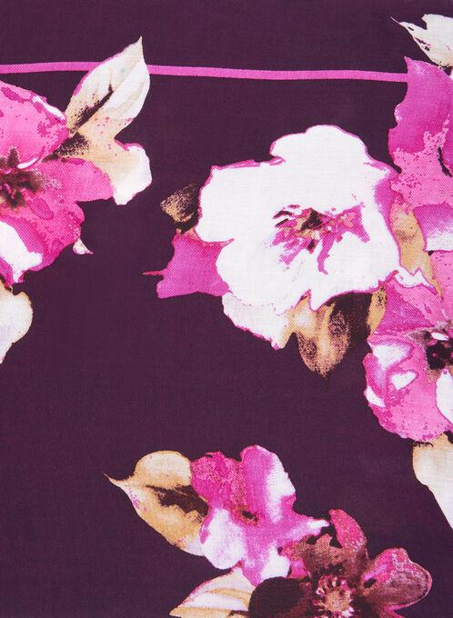 Rose Print Lightweight Scarf, Brown, hi-res