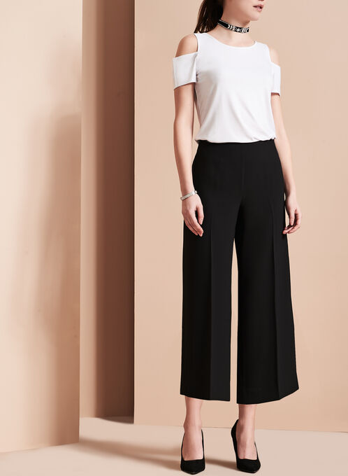 Jupe-culotte à jambe large, Noir, hi-res