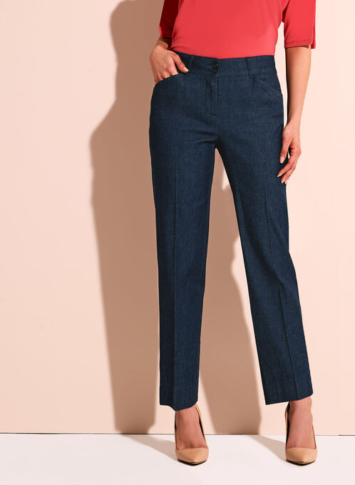 Wide Leg Chambray Ankle Pants, Blue, hi-res